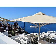 20 September 2016 Terrace in Santorini, Greece Photographic Print