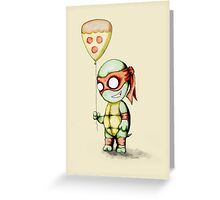 Mikey Pizza Balloon  Greeting Card