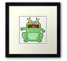cartoon funny frightened frog Framed Print
