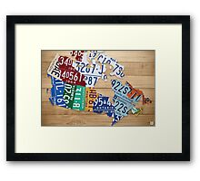 License Plate Map of Canada Art - Natural Stain Framed Print