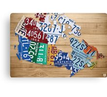 License Plate Map of Canada Art - Natural Stain Canvas Print