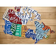 License Plate Map of Canada Art - Natural Stain Photographic Print