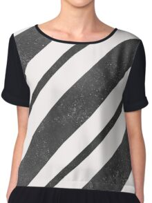 Stylish abstract background with textured black graphic diagonal lines Chiffon Top