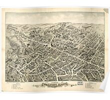 Vintage Pictorial Map of Peabody MA (1877) Poster