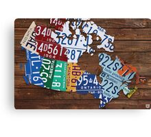 Map of Canada License Plate Rustic Art - Reclaimed Wood Canvas Print