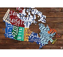 Map of Canada License Plate Rustic Art - Reclaimed Wood Photographic Print