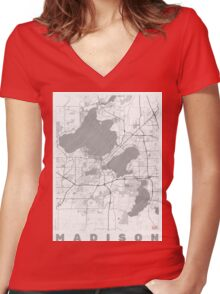 Madison Map Line Women's Fitted V-Neck T-Shirt
