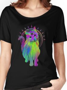 Psychic psychedelic trippy cat Women's Relaxed Fit T-Shirt