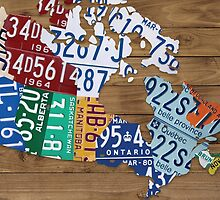 Map of Canada License Plate Industrial Art - Light Walnut by Route401