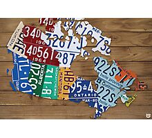 Map of Canada License Plate Industrial Art - Light Walnut Photographic Print
