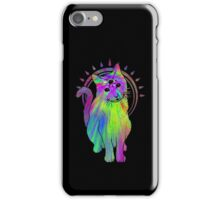 Psychic psychedelic trippy cat iPhone Case/Skin
