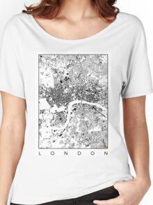 London Map Schwarzplan Only Buildings Urban Plan Women's Relaxed Fit T-Shirt