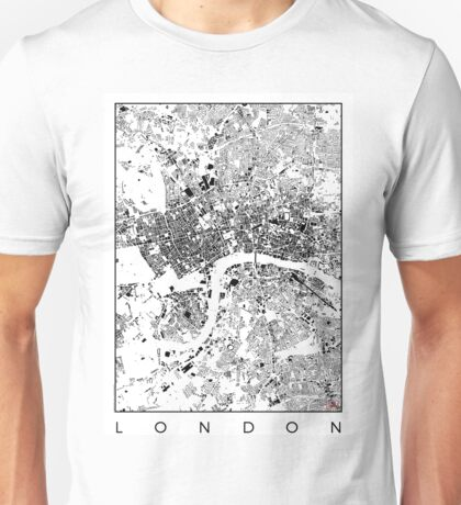 London Map Schwarzplan Only Buildings Urban Plan Unisex T-Shirt