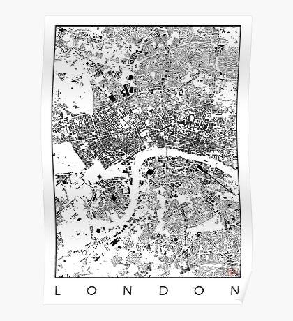 London Map Schwarzplan Only Buildings Urban Plan Poster
