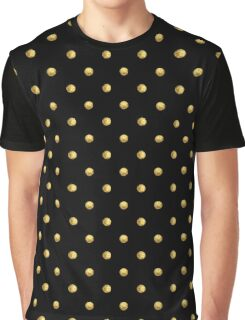 Pattern with golden polka dots on black background Graphic T-Shirt