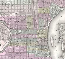 Vintage Map of Philadelphia (1855) by BravuraMedia