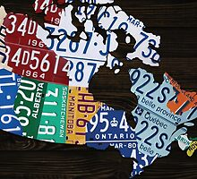 Map of Canada License Plate Vintage Art - Ebony by Route401