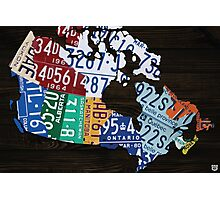 Map of Canada License Plate Vintage Art - Ebony Photographic Print