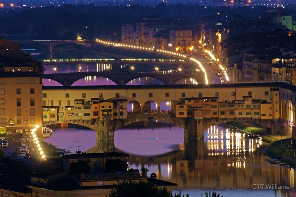 Ponte Vechhio at Night (Florence, Italy) by Cliff Williams