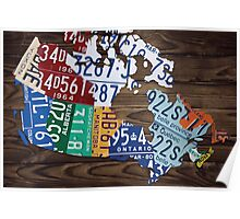 Map of Canada Map Made from License Plates - Dark Walnut Poster
