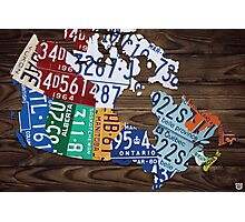 Map of Canada Map Made from License Plates - Dark Walnut Photographic Print