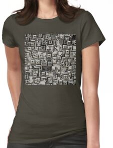 Abstract Geometric Skulls Collage Womens Fitted T-Shirt