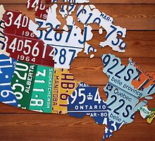 Map of Canada License Plate Industrial Art - Cherry by Route401