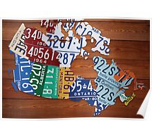 Map of Canada License Plate Industrial Art - Cherry Poster