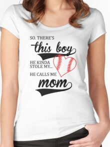 He Calls Me Mom Cute Women's Fitted Scoop T-Shirt