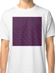 Red stars on bold blue background Classic T-Shirt