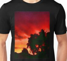 Weeping Tree Silhouette against the Sunset 1 Unisex T-Shirt