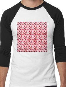 Red stars on grunge textured white Men's Baseball ¾ T-Shirt