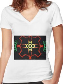 Fish supper abstract Women's Fitted V-Neck T-Shirt