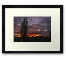 Burning Sky and Tree Silhouette Framed Print