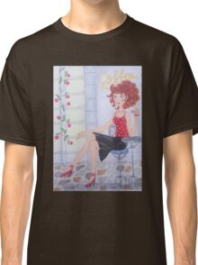 Girl with espresso coffee Classic T-Shirt