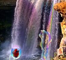 Rainbow Bubbles at Noccalula Falls by Charldia
