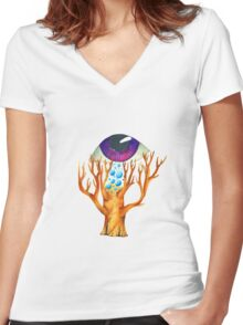 Purple-Blue Insight Women's Fitted V-Neck T-Shirt