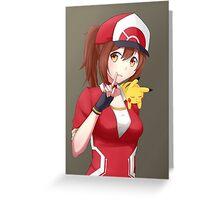 Pokemon GO female trainer with sleepy Pikachu Greeting Card