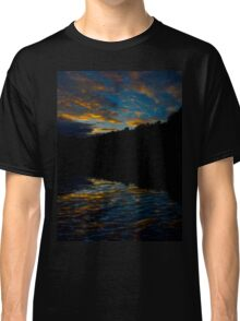 A Rippled Sunrise Reflection Over The Bosque Classic T-Shirt