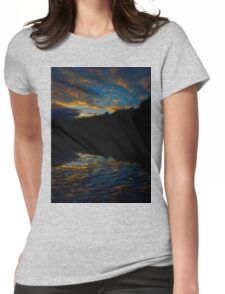 A Rippled Sunrise Reflection Over The Bosque Womens Fitted T-Shirt