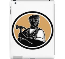 Carpenter Holding Hammer Woodcut iPad Case/Skin