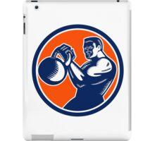 Bodybuilder Lifting Kettlebell Woodcut iPad Case/Skin