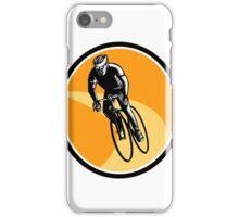 Cyclist Cycling Riding Racing Bike Woodcut iPhone Case/Skin