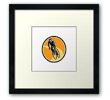 Cyclist Cycling Riding Racing Bike Woodcut Framed Print