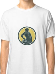 African American Woman Ironing Clothes Woodcut Classic T-Shirt