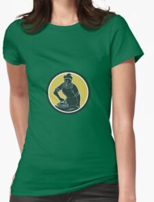 African American Woman Ironing Clothes Woodcut Womens Fitted T-Shirt