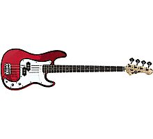 Bass Guitar in Red Photographic Print
