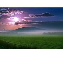 Beautiful sunset over green field. Photographic Print