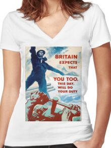 Vintage poster - Do Your Duty Women's Fitted V-Neck T-Shirt
