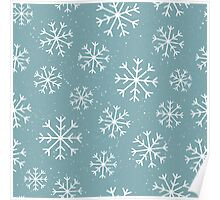 Pretty snowflake design and dark grey blue background - Christmas winter collection Poster